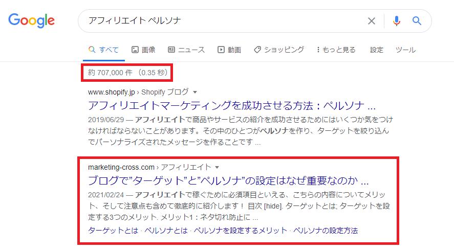 Googleの検索件数のイメージ